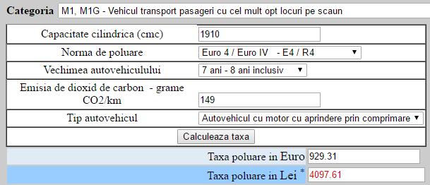 Opel Astra 2009, 1.9CDTi, 120 CP, Euro 4 – 929 euro timbru de mediu