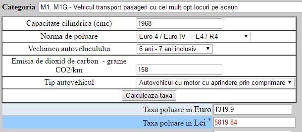 Volkswagen Passat 2010, 2.0 TDI, 140 CP, Euro 4 – 1319 euro timbru de mediu